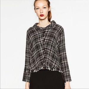Zara Fringe Tweed Mock Top L